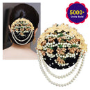 Apurva Pearls Gold And Pearl Floral Design Hair Brooch
