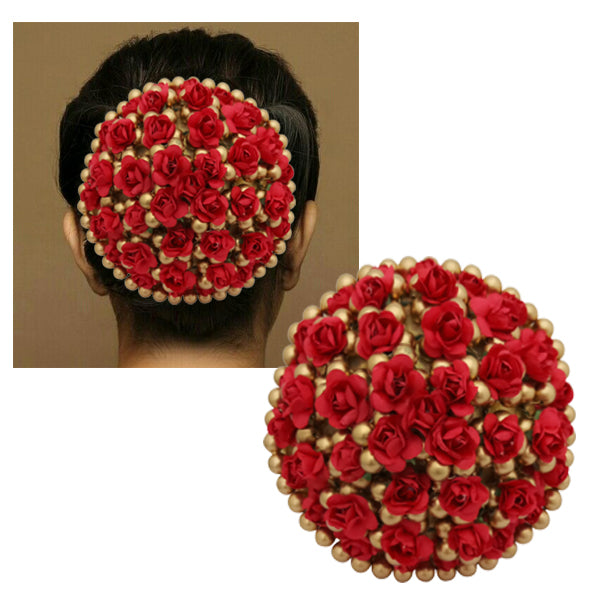 Apurva Pearls Maroon And Gold Floral Design Hair Brooch