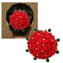 Apurva Pearls Red And Green Floral Design Hair Brooch