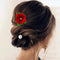 Apurva Pearls Red Floral Hair Pin