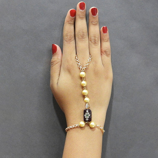 Apurva Pearls Gold Plated Pearl Hand Harness