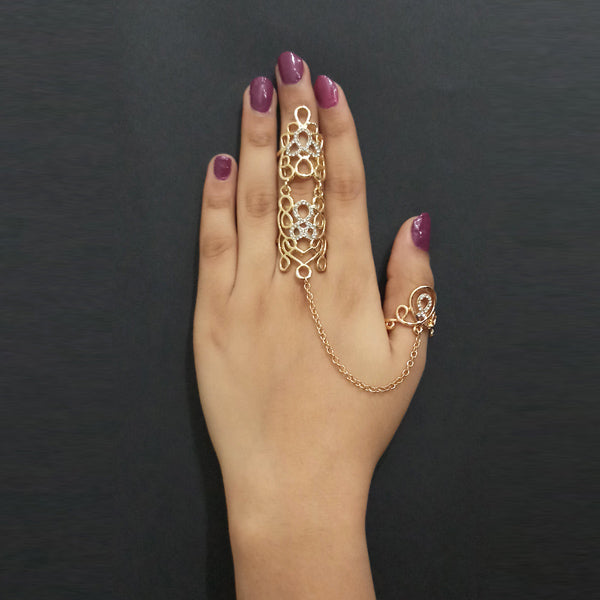 Urthn Gold Plated Austrian Stone Double Finger Ring