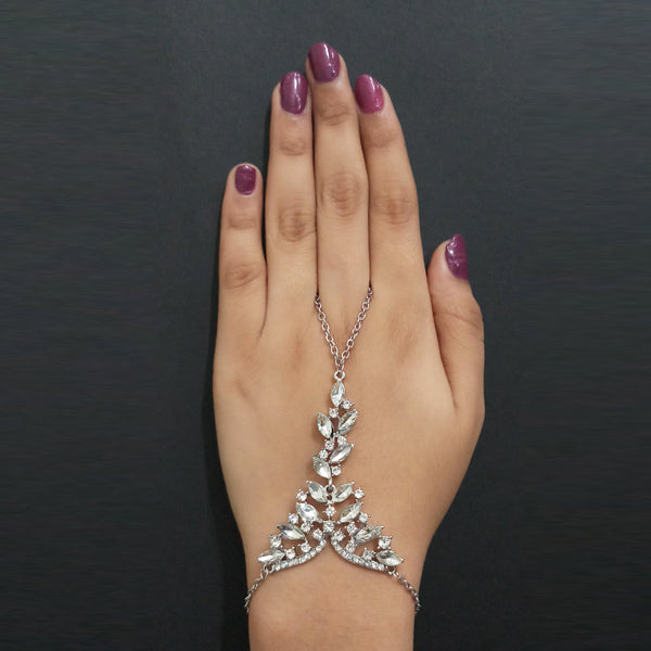 Urthn Silver Plated White Austrian Stone Hand Harness
