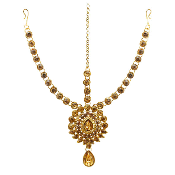 Soha Fashion Gold Plated Brown Austrian Stone Maang Tikka
