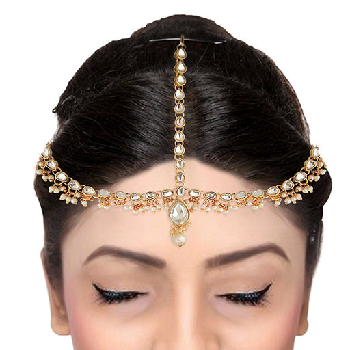 Soha Fashion Crystal And Pearl Stone Gold Plated Maang Tikka
