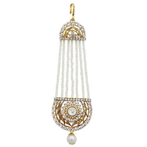 Apurva Pearls Gold Plated White Stone Pearl Pasa