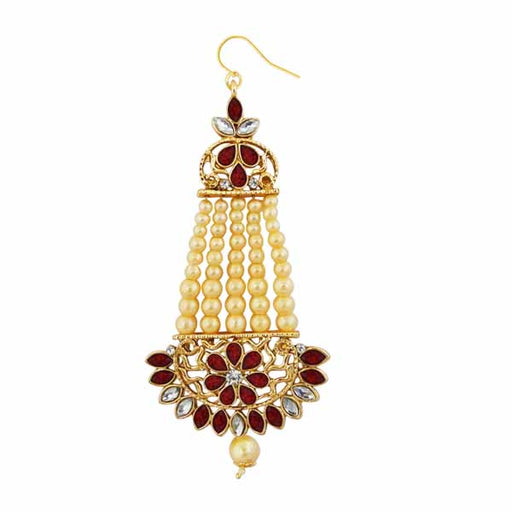 Kriaa Gold Plated Maroon Kundan And Stone Pasa