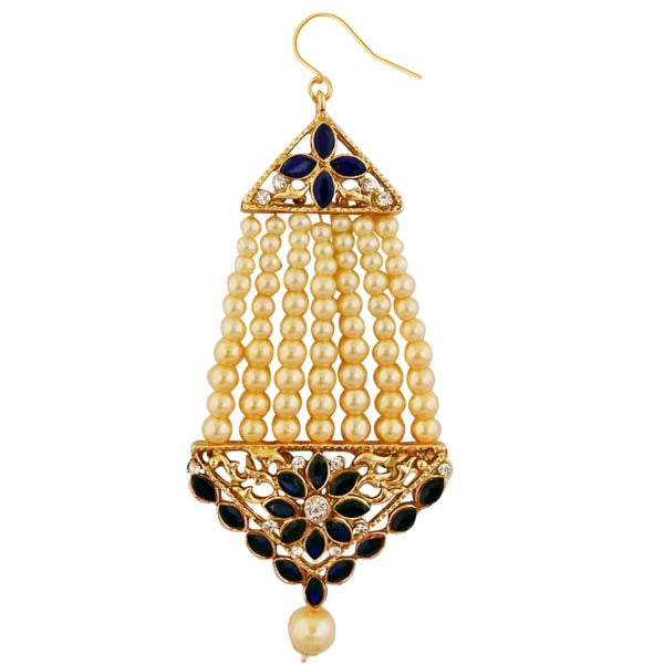 Kriaa Gold Plated Blue Kundan And Stone Pasa