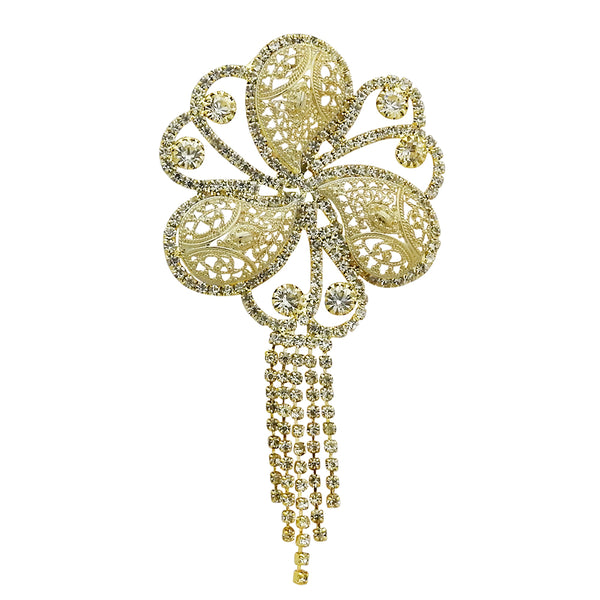 Kriaa Gold Plated Austrian Stone Floral Saree Pin Brooch