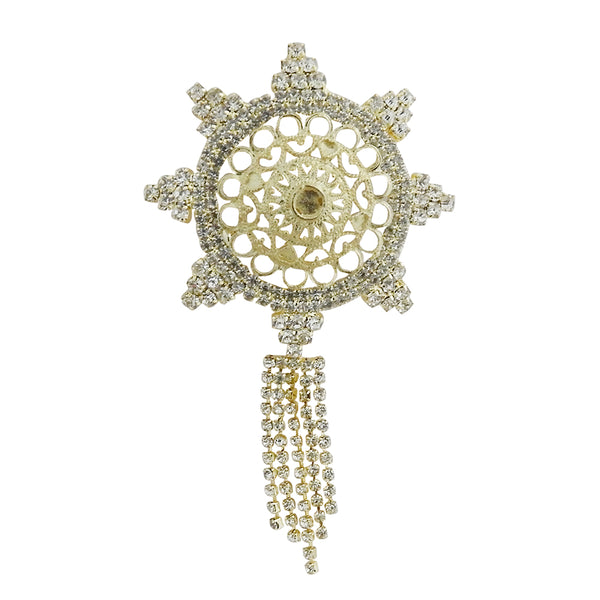 Kriaa Gold Plated Austrian Stone Saree Pin Brooch