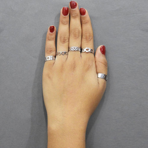 Urthn Zinc Alloy Silver Plated 5 Finger Rings - Jewelmaze.com