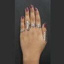 Urthn Adjustable Silver Plated 5 Finger Set