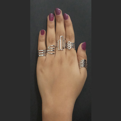Urthn Adjustable Silver Plated 5 Finger Ring Set