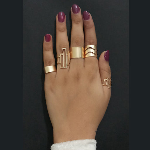 Urthn Adjustable Gold Plated 5 Finger Ring Set