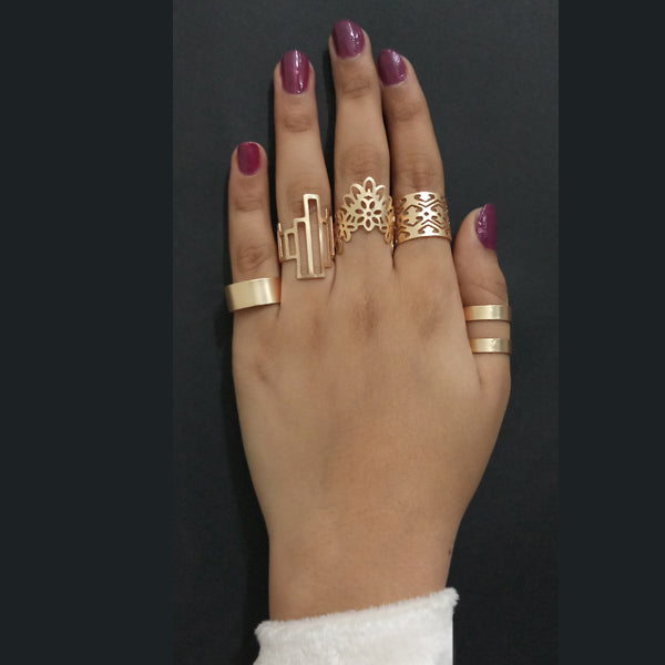 Urthn Gold Plated Adjustable 5 Finger Ring Set
