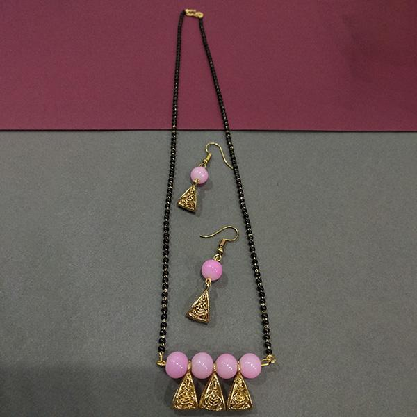 Kriaa Pink Beads Pearl Mangalsutra