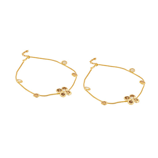 Kriaa Zinc Alloy Gold Plated Anklet