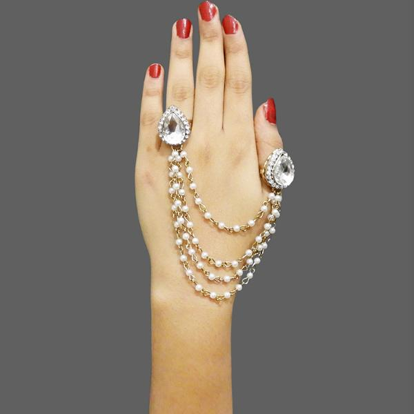 Native Haat Stone Pearl Tassel Chain Double Finger Ring - N1503201A