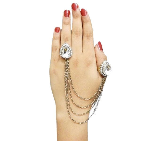 Apurva Pearls Stone Tassel Chain Double Finger Ring