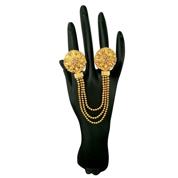 Kriaa Brown Austrian Stone Chain Double Finger Ring