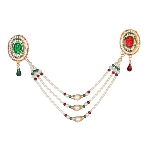 Soha Fashion Green Austrian Stone Pearl Chain Kamarband