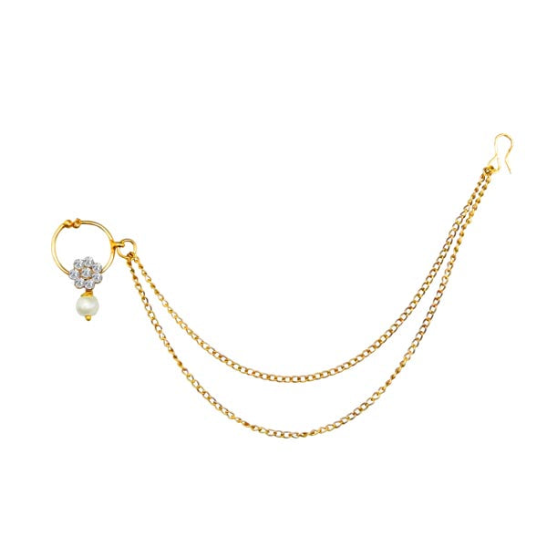 Kriaa White Austrian Stone Gold Plated Chain Nose Ring