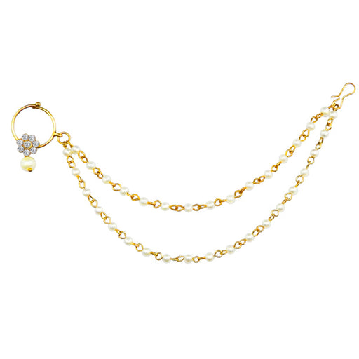 Apurva Pearls  Gold Plated Pearl Chain Nose Ring