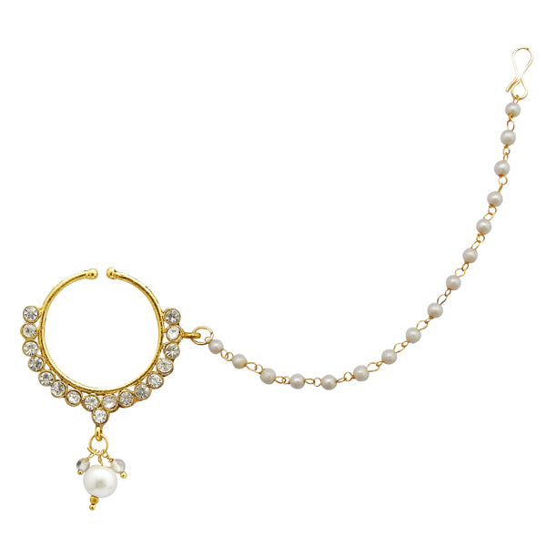 Kriaa Austrian Stone Gold Plated Pearl Chain Nose Ring