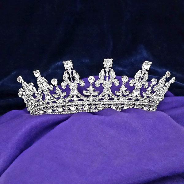 Kriaa White Austrian Stone Silver Plated Half Crown - 1503630
