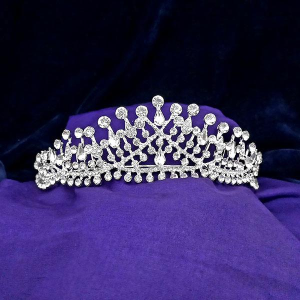 Kriaa White Austrian Stone Silver Plated Half Crown - 1503634