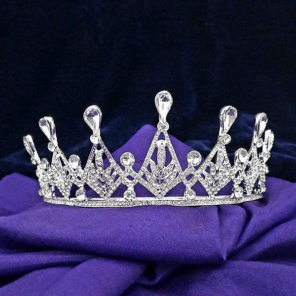 Kriaa White Austrian Stone Silver Plated Half Crown - 1503635