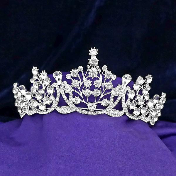 Kriaa White Austrian Stone Silver Plated Half Crown - 1503636