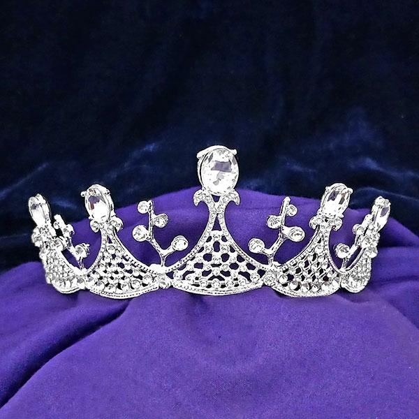 Kriaa White Austrian Stone Silver Plated Half Crown - 1503637