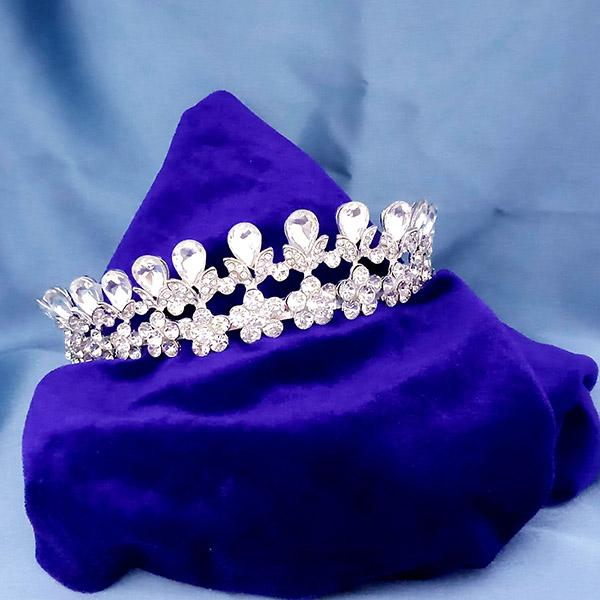 Kriaa White Austrian Stone Silver Plated Half Crown  - 1503641