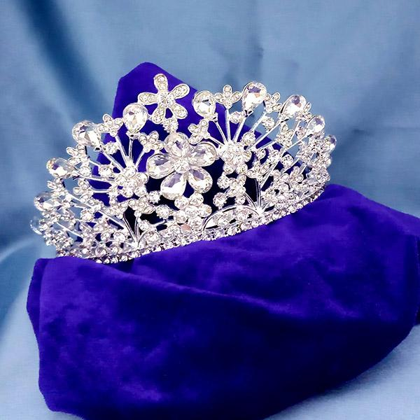 Kriaa White Austrian Stone Silver Plated Half Crown  - 1503642