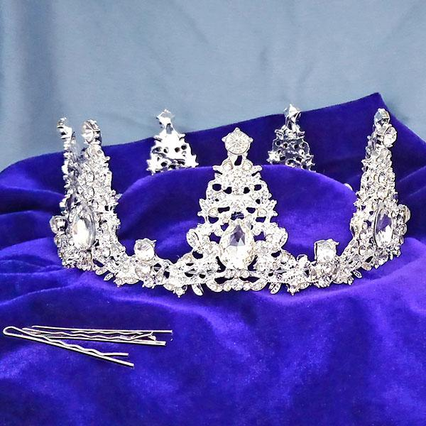 Kriaa White Austrian Stone Silver Plated Half Crown  - 1503645