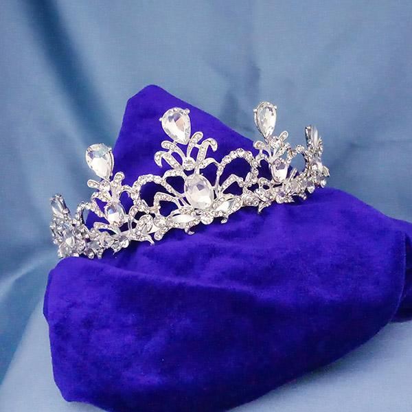 Kriaa White Austrian Stone Silver Plated Half Crown  - 1503651