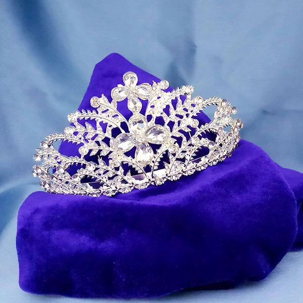 Kriaa White Austrian Stone Silver Plated Half Crown  - 1503652