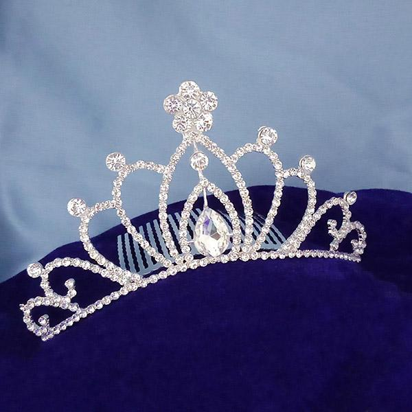 Kriaa White Austrian Stone Silver Plated Half Crown  - 1503658