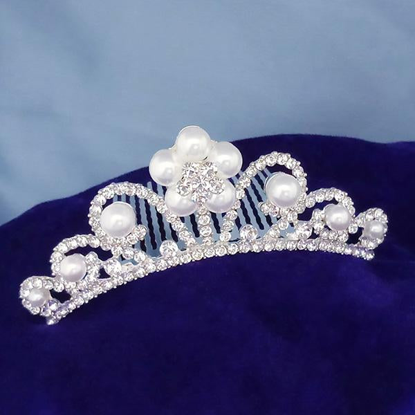 Kriaa White Austrian Stone Silver Plated Half Crown  - 1503663