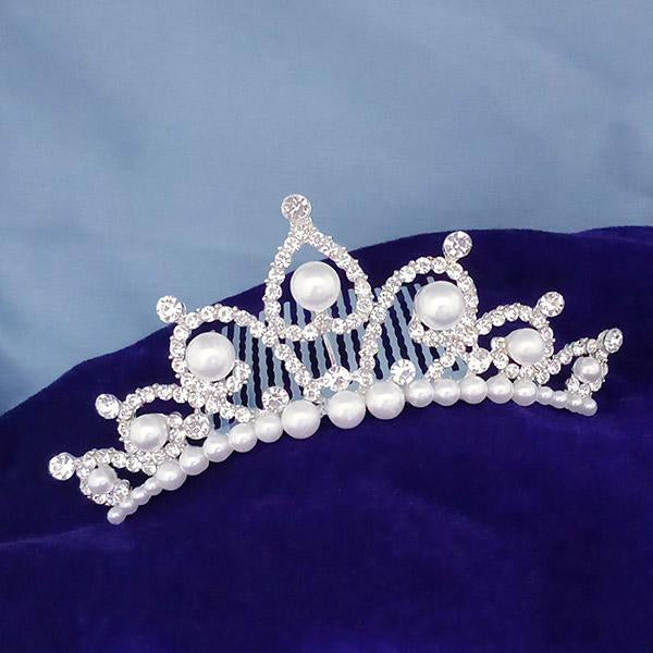 Kriaa White Austrian Stone And Pearl Silver Plated Half Crown  - 1503666