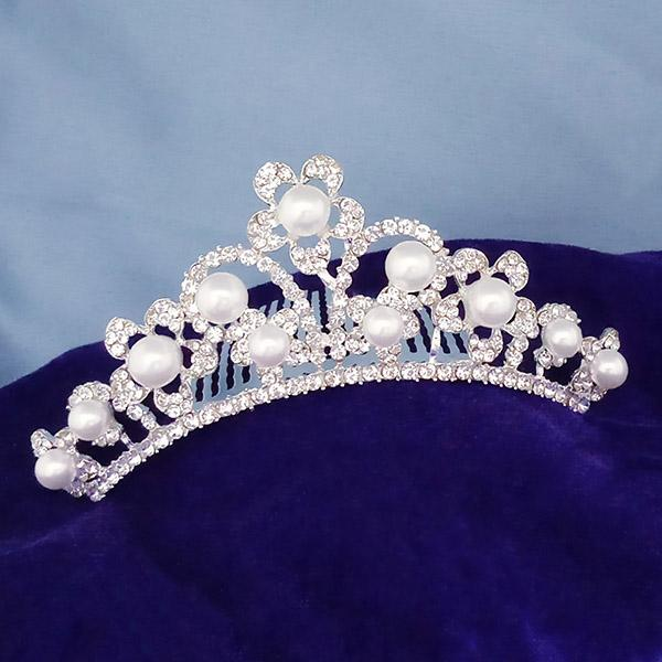 Kriaa White Austrian Stone And Pearl Silver Plated Half Crown  - 1503667