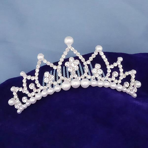 Kriaa White Austrian Stone And Pearl Silver Plated Half Crown  - 1503668