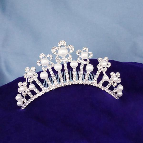 Kriaa White Austrian Stone And Pearl Silver Plated Half Crown  - 1503669