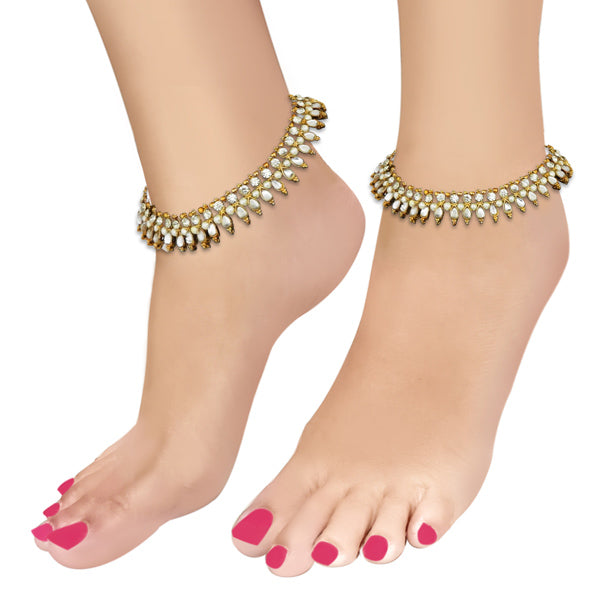 Apurva Pearls Gold Plated White Austrian Stone Pearl Anklets