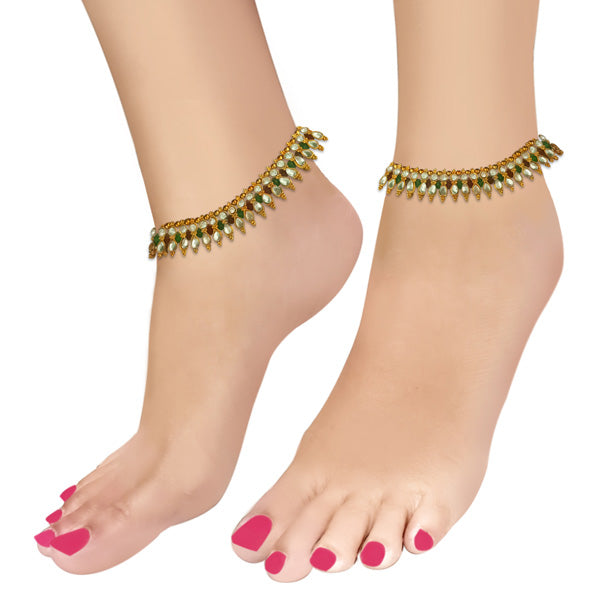 Apurva Pearls Gold Plated White Austrian Stone Anklets