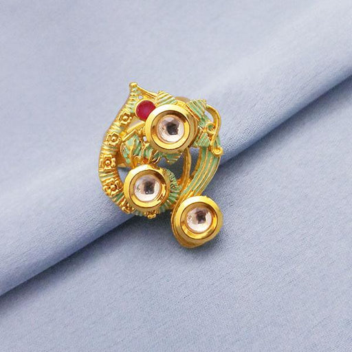 Kriaa Red AD Kundan Adjustable Copper Ring