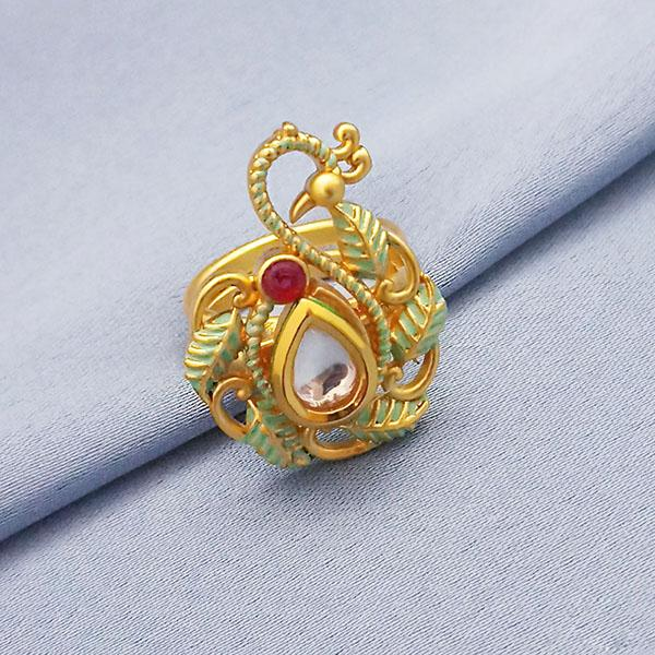 Kriaa AD Stone Adjustable Copper Ring