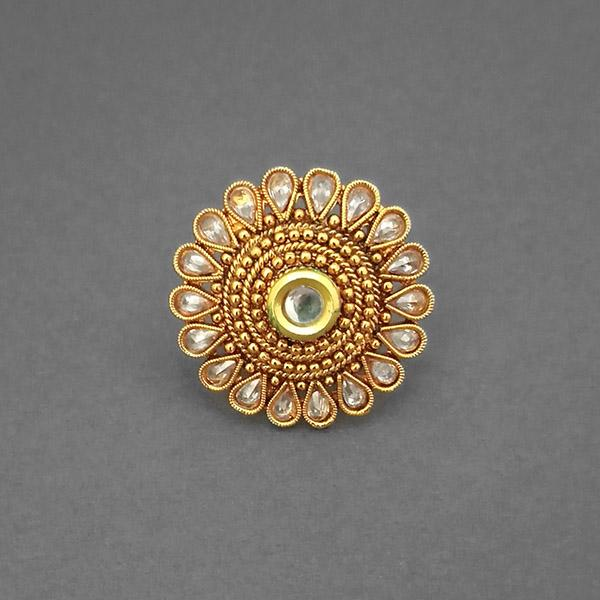 Utkrishtt AD Stone Kundan Adjustable Finger Ring