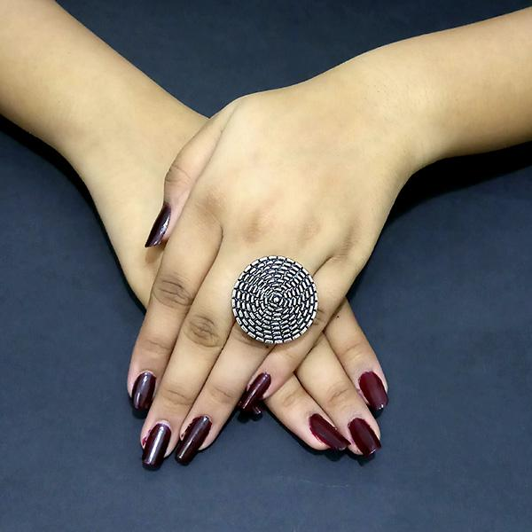 Native Haat Silver Plated Adjustable Finger Ring - N1504790A